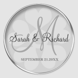 Silver Personalized Monogrammed Wedding Seal Classic Round Sticker