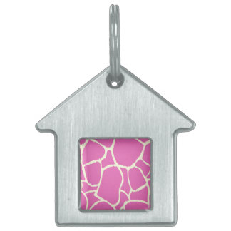 Silver pet tag : with Pink giraffe art