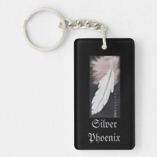 Silver Phoenix Feather Keychain