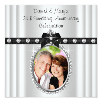 Silver Photo 25th Silver Anniversary Party Custom Announcements