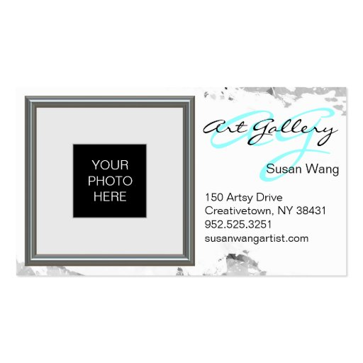 Silver picture frame layout custom business card zazzle for Business card picture frame