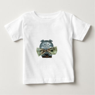Silver Piggy Bank Eating Money Baby T-Shirt