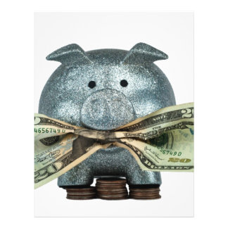"Silver Piggy Bank Eating Money 8.5"" X 11"" Flyer"