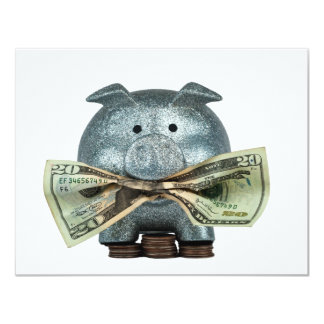 Silver Piggy Bank Eating Money 4.25x5.5 Paper Invitation Card