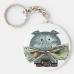 Silver Piggy Bank Eating Money Key Chain