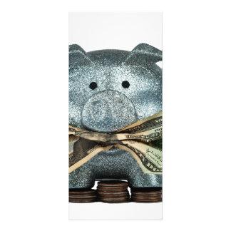Silver Piggy Bank Eating Money Rack Card