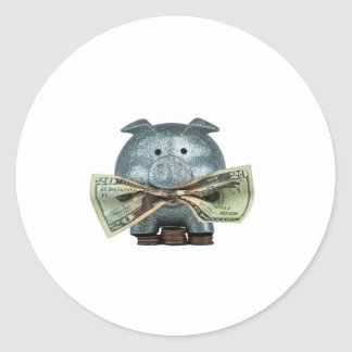 Silver Piggy Bank Eating Money Stickers