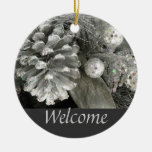Silver Pine Cone Welcome Sign Double-Sided Ceramic Round Christmas Ornament