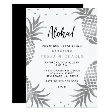 Beach Themed Silver Pineapple Luau Party Invitations