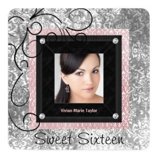 """Silver Pink and Black Damask Sweet 16 5.25"""" Square Invitation Card"""