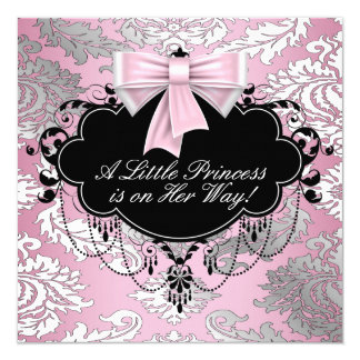 Silver Pink and Black Princess Baby Girl Shower Card