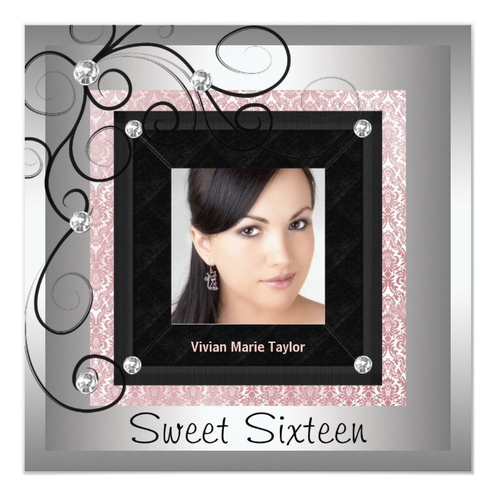 Silver Pink Black Damask Photo Sweet 16 Party Card