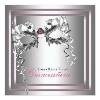 Silver Pink Black Masquerade Party Custom Announcements