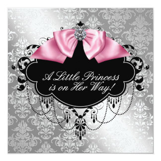 Silver Pink Black Princess Baby Girl Shower Card