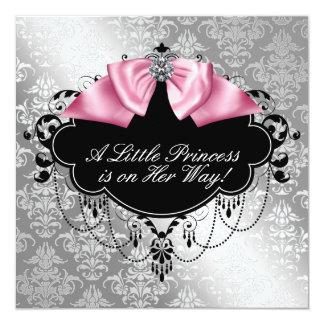 Silver Pink Black Princess Baby Girl Shower Invitation