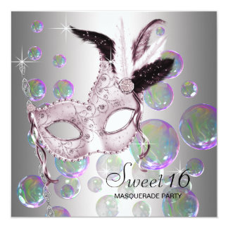 """Silver Pink Bubbles Sweet Sixteen Masquerade Party 5.25"""" Square Invitation Card"""