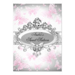 Silver & Pink Butterfly Sweet Sixteen Invite