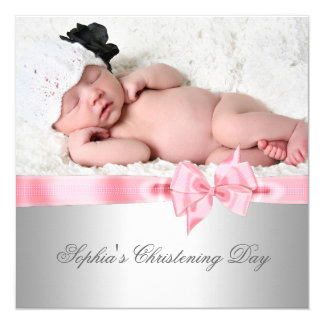Silver Pink Damask Bow Girl Photo Christening Card