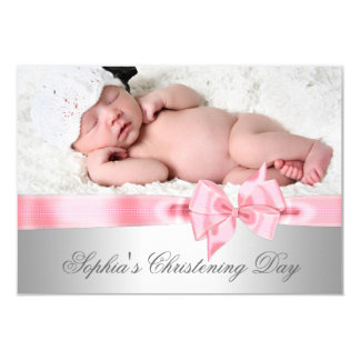 "Silver Pink Damask Bow Girl Photo Christening 3.5"" X 5"" Invitation Card"