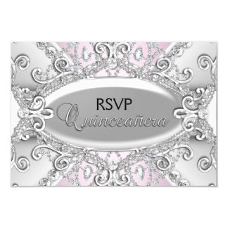 Silver & Pink Diamond Damask Quinceanera RSVP Card