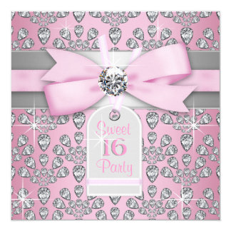 Silver Pink Diamond Pink & Gray Sweet 16 Birthday 5.25x5.25 Square Paper Invitation Card