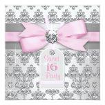 Silver Pink Diamond Pink & Gray Sweet 16 Birthday Custom Announcement