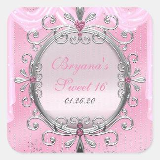 Silver & Pink Fancy Frame Birthday Party Sticker
