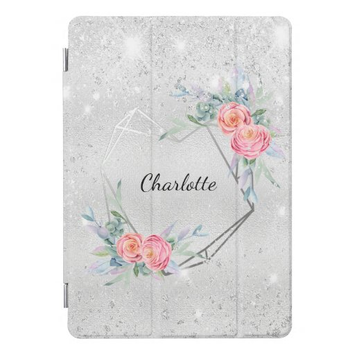 Silver pink florals glitter dust name iPad pro cover