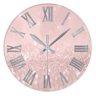 Silver Pink Glitter Minimal Metallic Roman Numers Large Clock