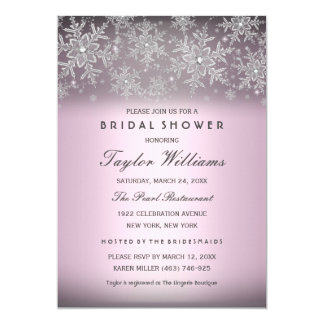 Silver Pink Jewel Snowflake Bridal Shower Invite