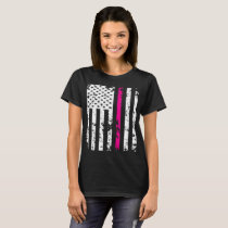 Silver Pink Line American Flag Breast Cancer T-Shi T-Shirt