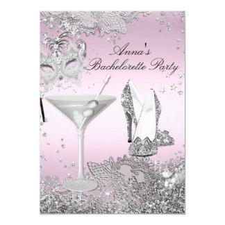 Silver Pink Mask & Jewel Lace Bachelorette Party Card