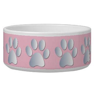Silver pink pawprints beautiful pet dog bowl