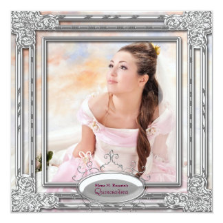 Silver Pink Photo Quinceanera Invitation