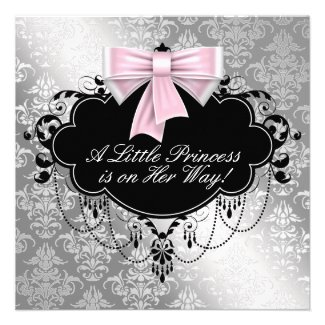 Silver Pink Princess Baby Shower Invitations