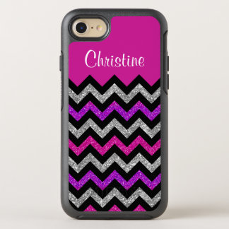 Silver Pink Purple Glitter Black Chevron Stripes OtterBox Symmetry iPhone 7 Case