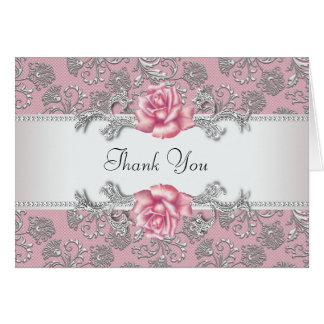 Silver Pink Rose Damask Thank You Cards