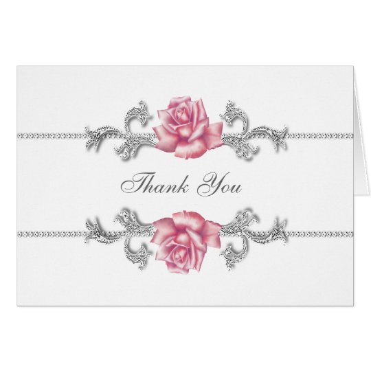 Silver Pink Rose Thank You Cards