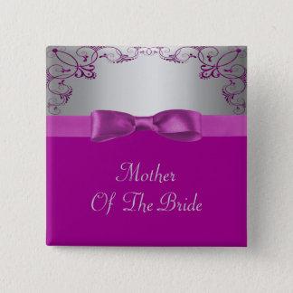 Silver & Pink Scrollwork Wedding Button