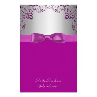 Silver & Pink Scrollwork Wedding Customized Stationery