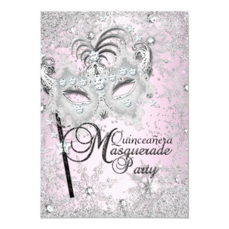 Silver Pink Snowflake Mask Masquerade Quinceanera Card