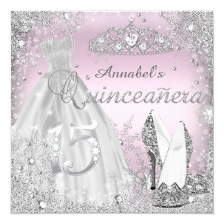 Silver & Pink Sparkle Dress & Tiara Quinceanera Card