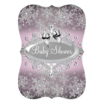 Silver Pink Sparkle Snowflake Baby Shower Invite