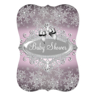 Beautiful Silver Pink Sparkle Snowflake Baby Shower Invite