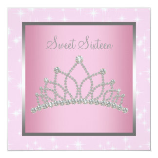 """Silver Pink Sparkles Sweet Sixteen Birthday Party 5.25"""" Square Invitation Card"""