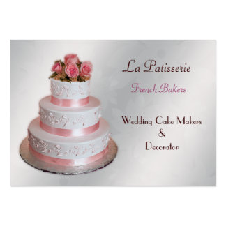 silver pink Wedding Cake makers business Cards