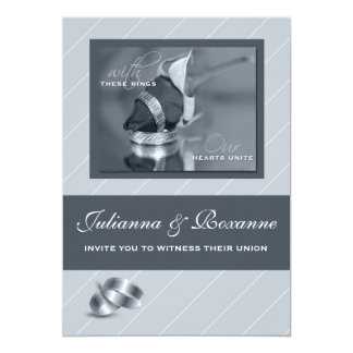 Silver Pinstripe Gay Wedding Invitation