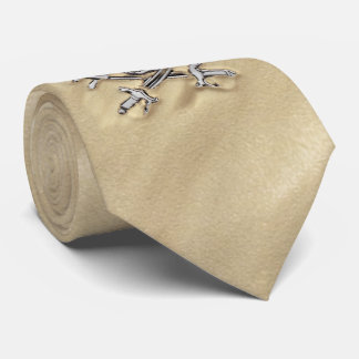 Silver Pirate crossbones Skull in the Sand Tie