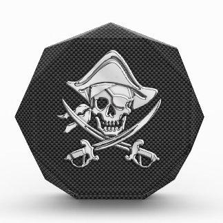 Silver Pirate on Black Carbon Fiber Decor Award