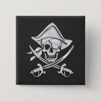 Silver Pirate on Black Carbon Fiber Decor Button